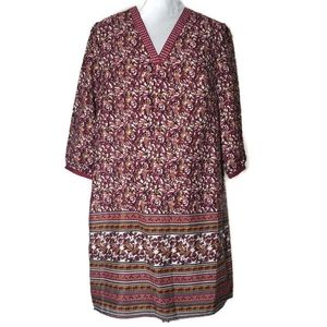 Cato Burgundy & Gold Patterned Dress